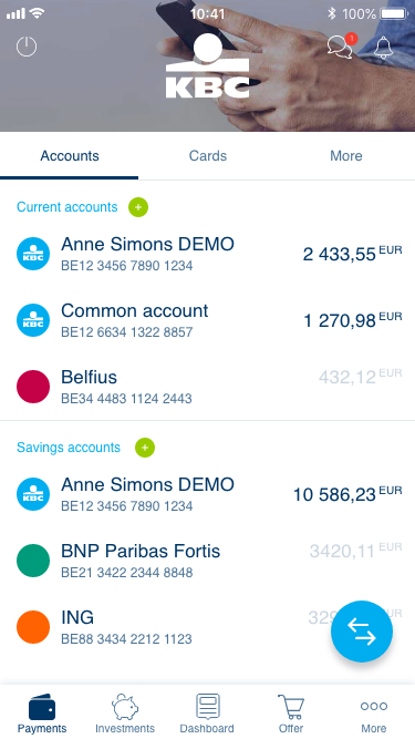 Manage the accounts you hold at other banks